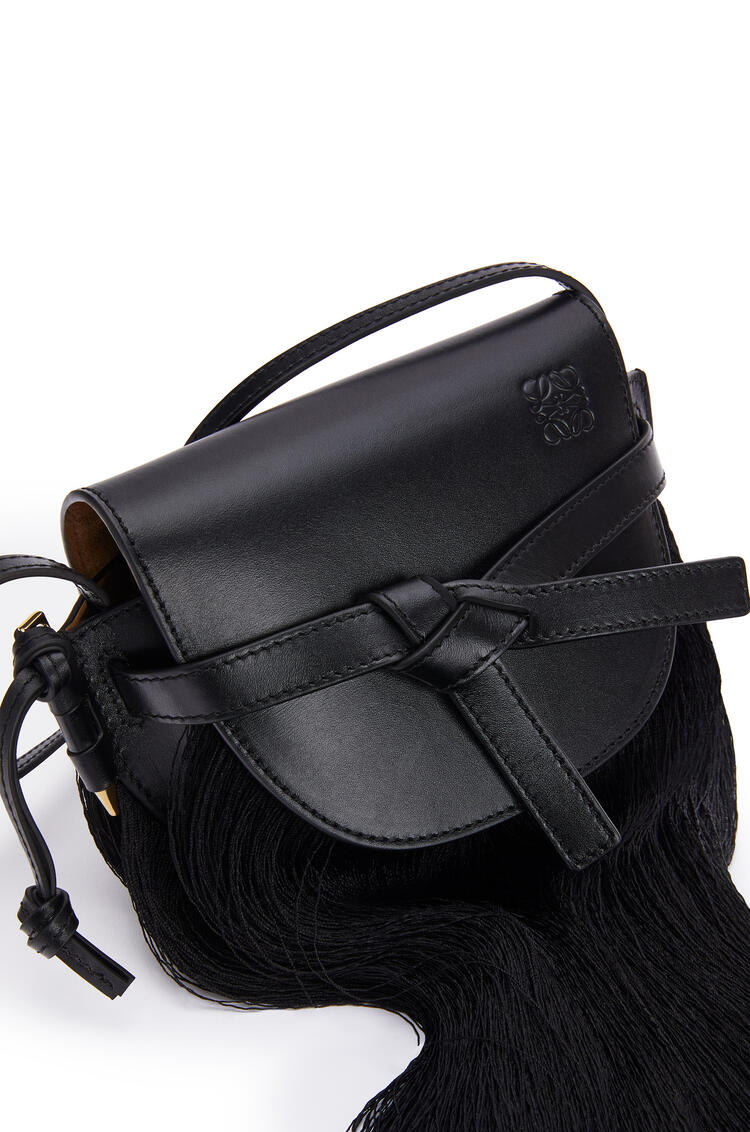 LOEWE Mini Gate fringes bag in soft calfskin 黑色 pdp_rd