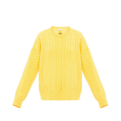 LOEWE Cable Knit Sweater Yellow front