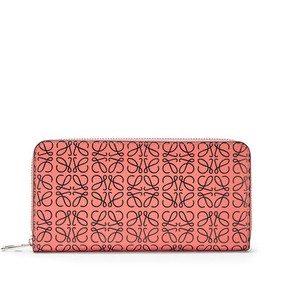 LOEWE Zip Around Wallet Pink Tulip/Black front