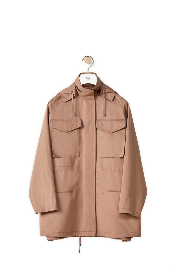 LOEWE Hooded military parka in cotton and linen Beige pdp_rd