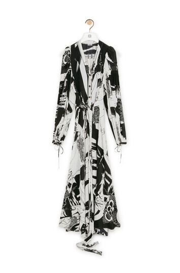 LOEWE Salome Peasant Shirtdress Negro/Blanco front