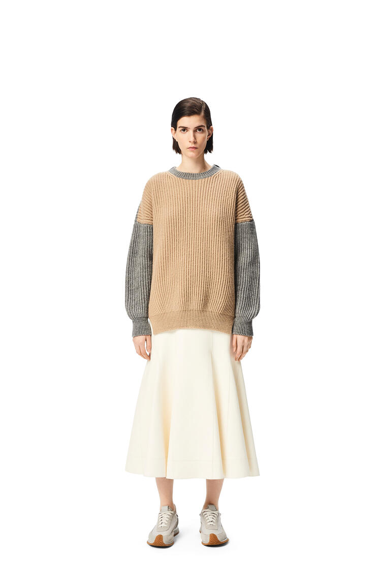 LOEWE Oversized ribbed sweater in wool and alpaca Beige/Grey pdp_rd