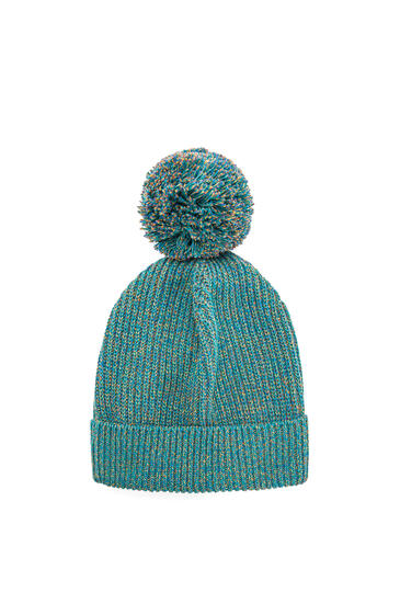 LOEWE Melange Knit Beanie In Cotton Emerald Green pdp_rd