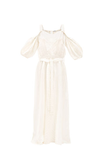 LOEWE Paula Stripe Balloon Slv Dress White Ash front