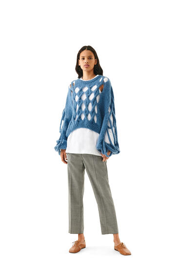 LOEWE Knit Mesh Sweater In Mohair Blue pdp_rd