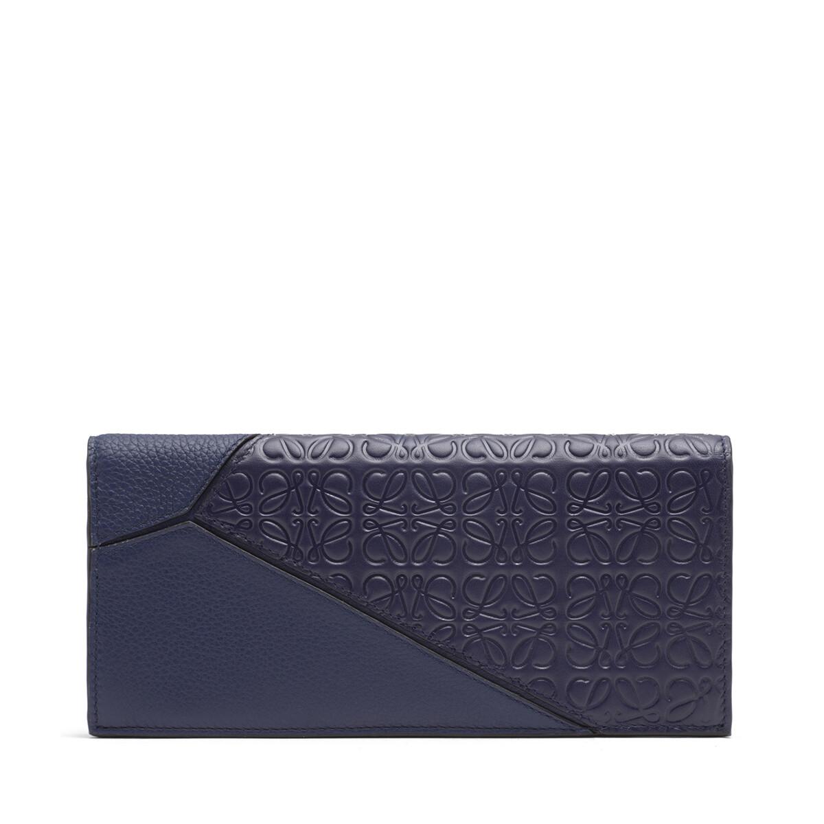 LOEWE Puzzle Long Horizontal Wallet Navy Blue front