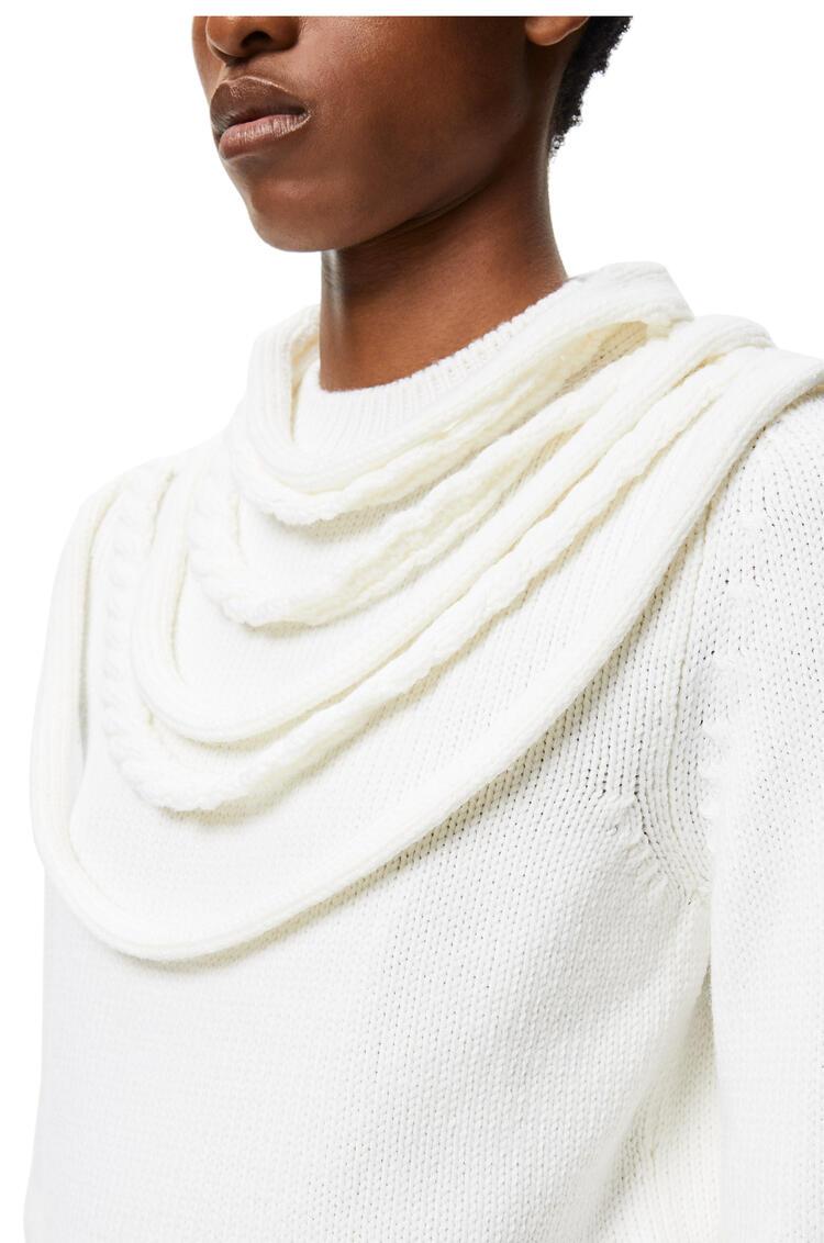 LOEWE Jersey en lana con cuello trenzado Blanco Optico pdp_rd