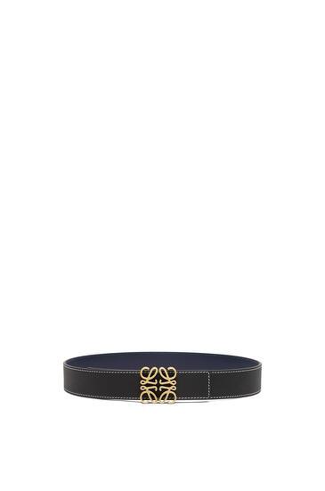 LOEWE Cinturón Anagrama en piel de ternera con grano suave Negro/Azul Marino/Oro Viejo pdp_rd