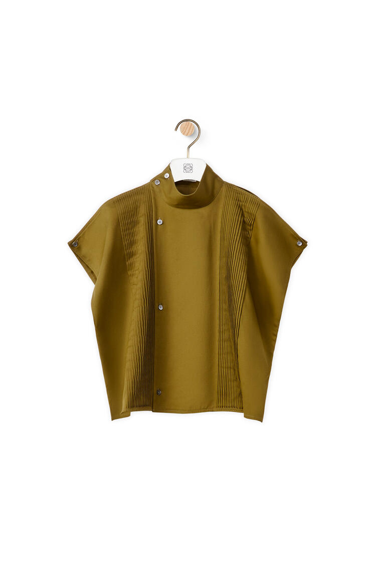 LOEWE Cropped pleated blouse in cotton Moss Green pdp_rd