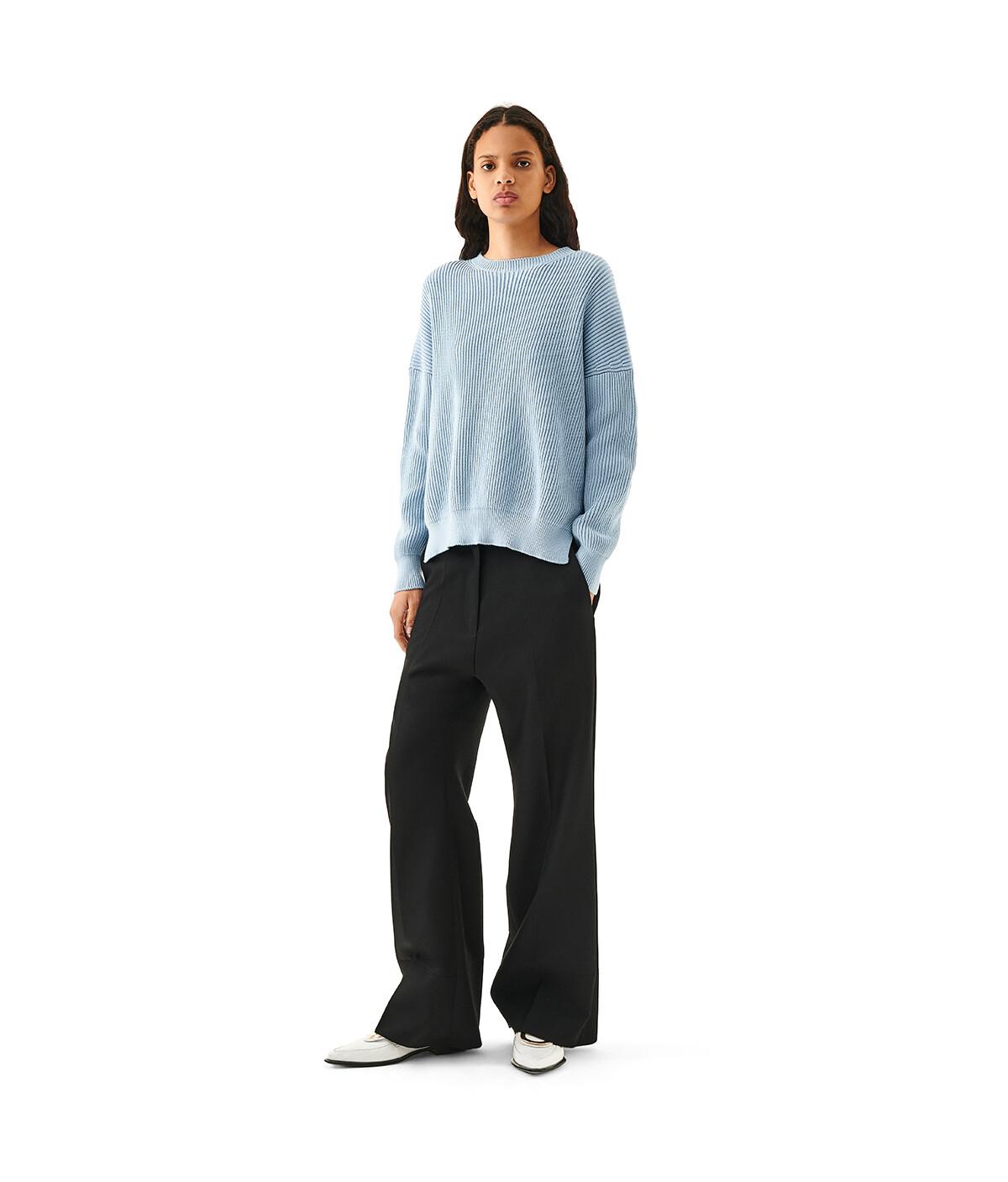 LOEWE Rib Sweater Baby Blue front