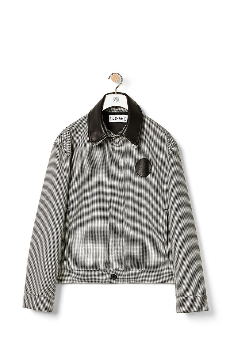 LOEWE Houndstooth zip jacket leather collar in viscose White/Black pdp_rd