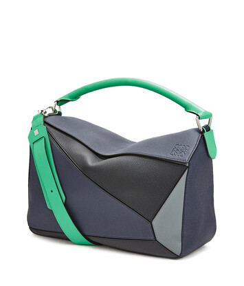 LOEWE Puzzle Large Bag Deep Blue/Green front
