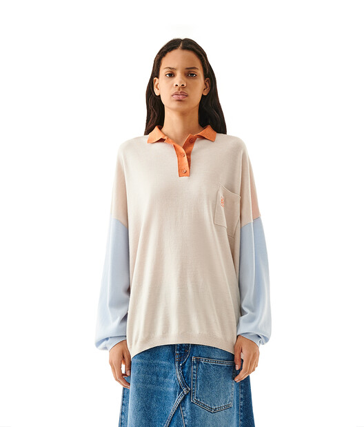 LOEWE Oversize Poloneck Sweater Orange/Light Blue front