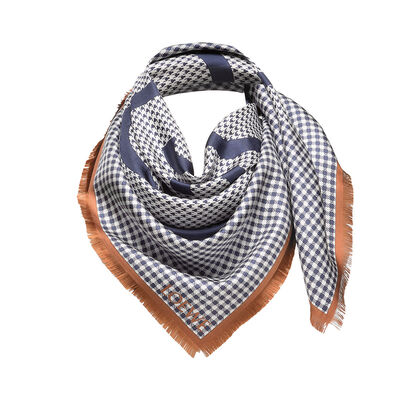 LOEWE 90X90 Scarf Check Anagram Blue Denim front