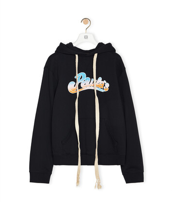 LOEWE Drawstring Hoodie In Cotton Black front