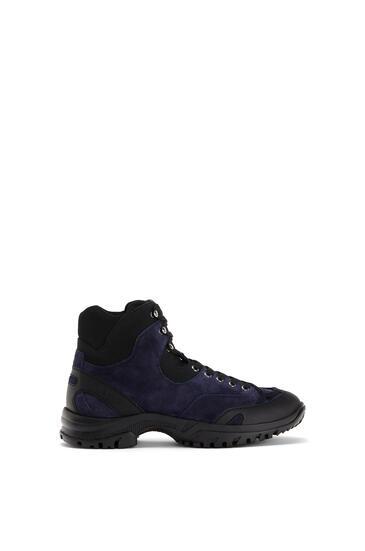 LOEWE Hiking boot in split calfskin Navy Blue/Black pdp_rd