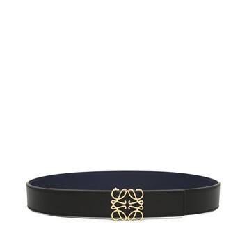LOEWE Anagram 皮带 3.2cm 黑色/海军蓝/金色 front