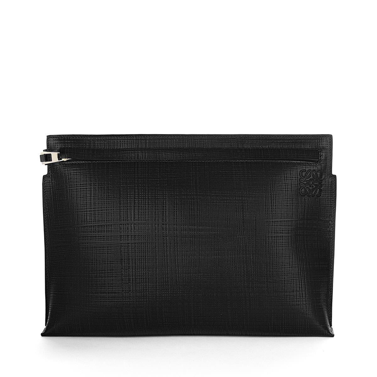 LOEWE T Pouch Linen Black front. T Pouch Linen