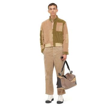 LOEWE Patchwork Corduroy Blouson Beige/Khaki Green front