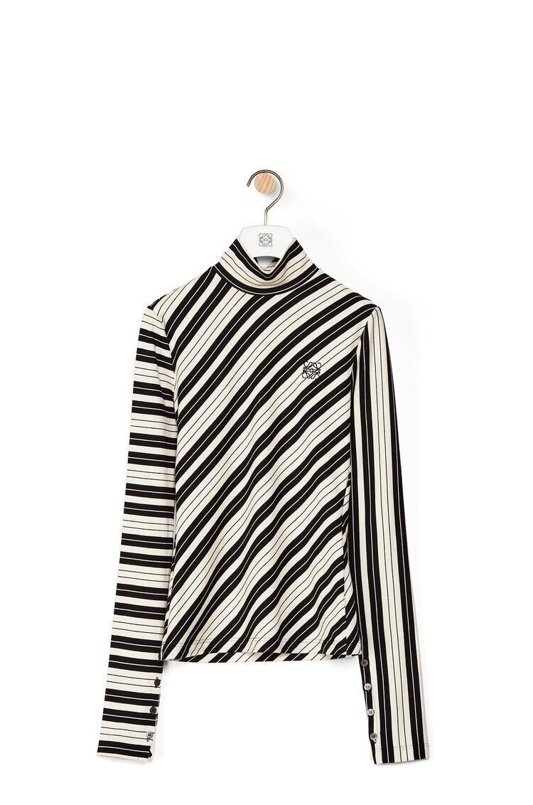 LOEWE High neck top in bias striped cotton Black/White pdp_rd