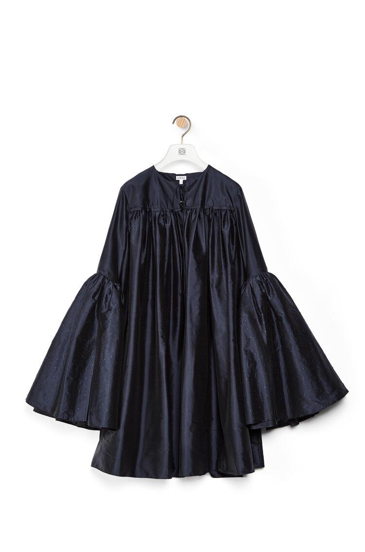 LOEWE Minivestido en seda con manga campana Azul Mar pdp_rd