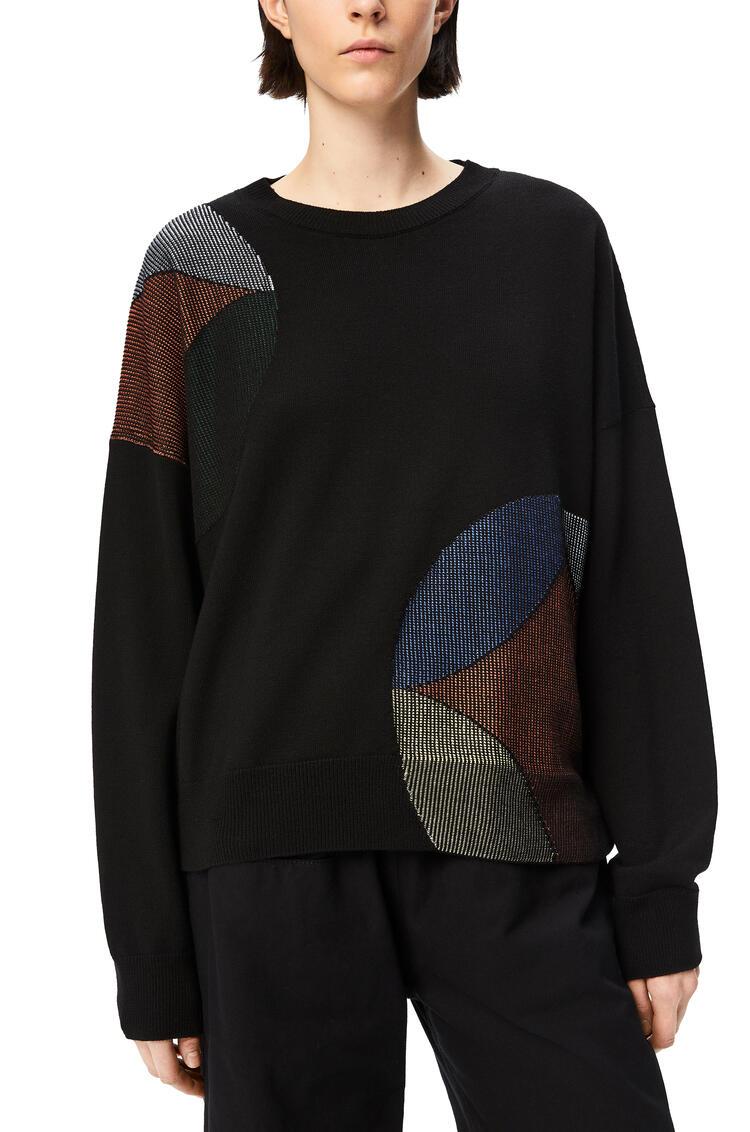 LOEWE Jersey caleidoscopio en intarsia de lana y seda Negro/Azul/Amarillo pdp_rd
