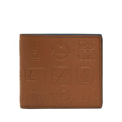 LOEWE Signature Bifold/Coin Wallet Cognac/Duke Blue front