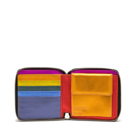 LOEWE Rainbow Square Zip Wallet Metallic Multicolor front
