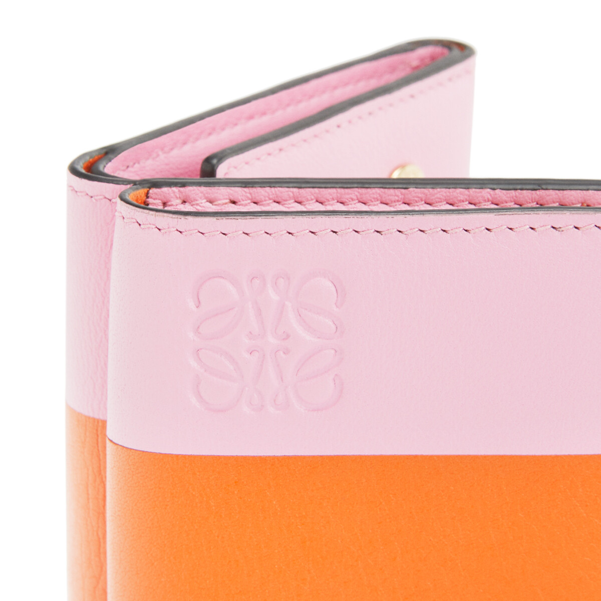 LOEWE Color Block Trifold Wallet Orange/Candy front