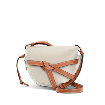 LOEWE 小号柔软牛皮革 Gate 手袋 Light Oat/Soft White pdp_rd