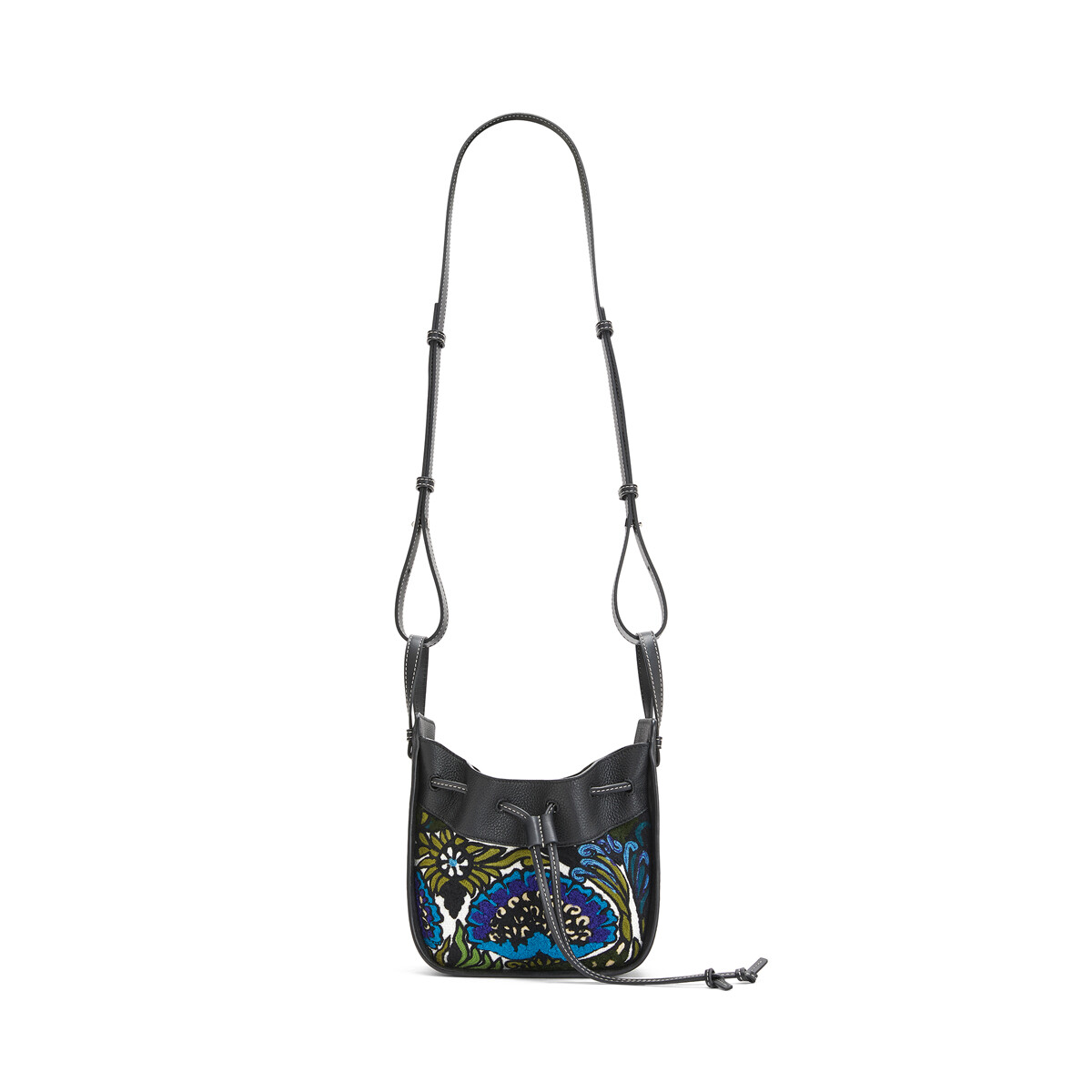 LOEWE Hammock Drawstring Floral Mini Bag Peacock Blue front