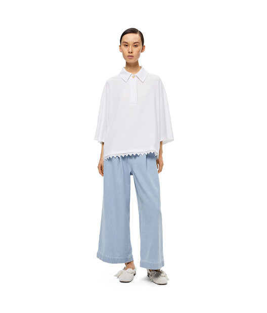 LOEWE Lace Trim Poloneck Top White front
