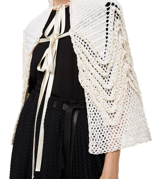 LOEWE Knit Crochet Cape White front