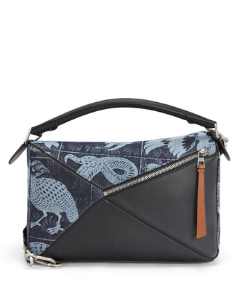 LOEWE Puzzle Tiles Large Bag Indigo/Black front