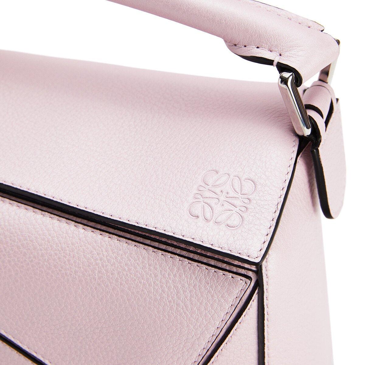LOEWE 小号Puzzle手袋 Icy Pink front