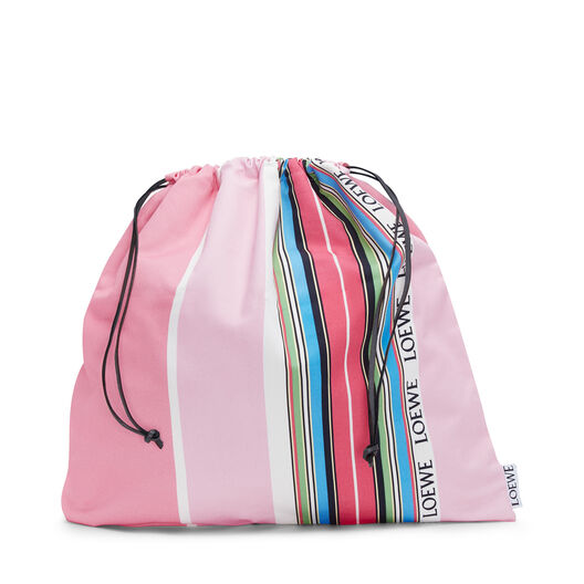 LOEWE Drawstring Pouch L Stripes Pink/Multicolor front