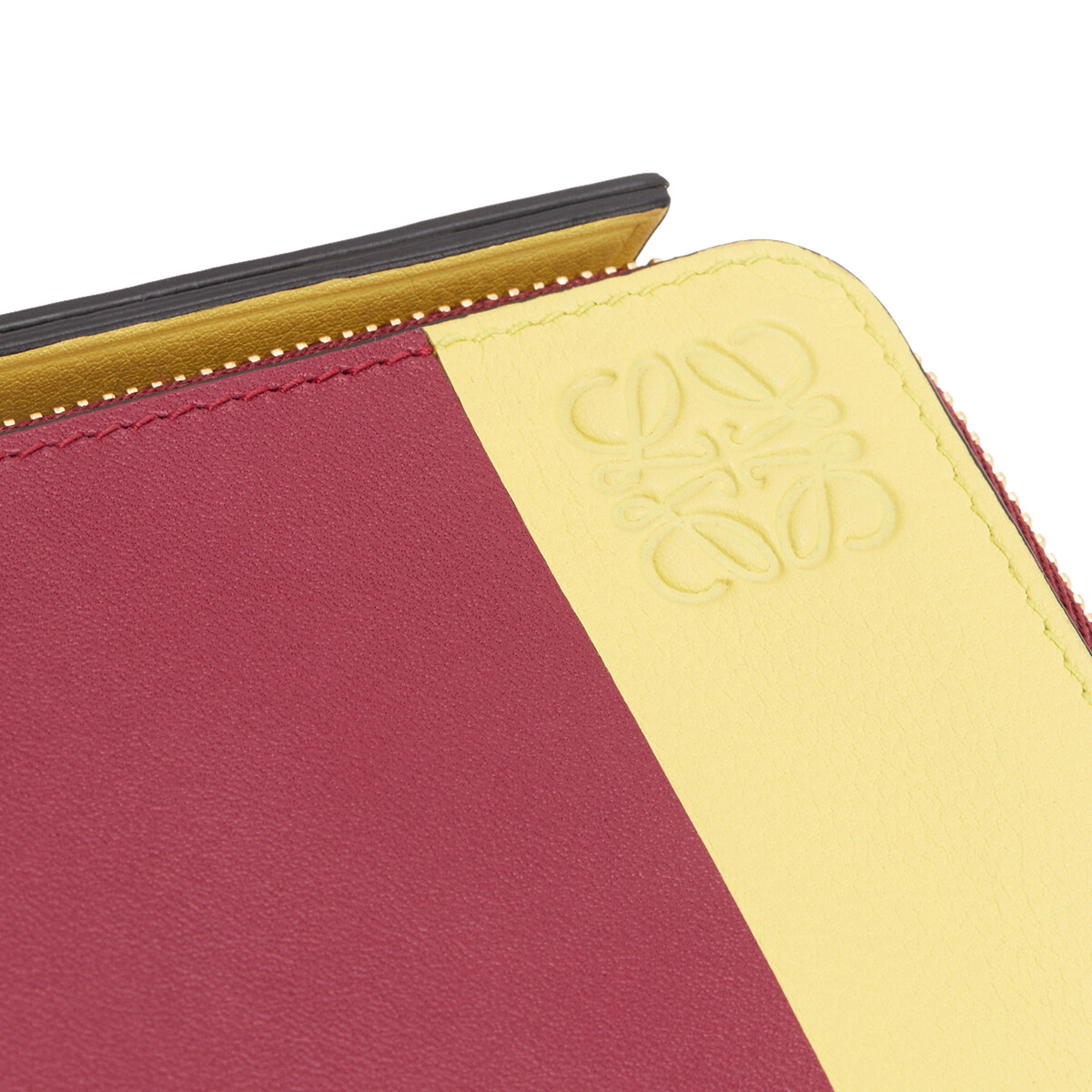 LOEWE 拼色零钱卡包 Raspberry/Yellow front