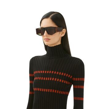 LOEWE Acetate Mask Sunglasses Havana/Green front