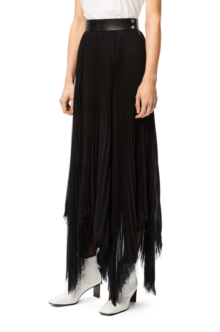 LOEWE Asymmetric pleated skirt leather trim in polyester Black pdp_rd