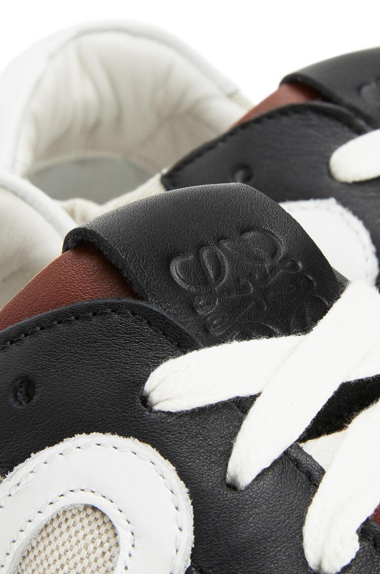 LOEWE 经典牛皮革和亚麻芭蕾舞跑鞋 Sand/Dark Brown pdp_rd