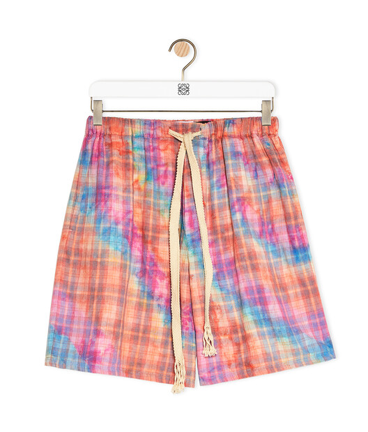LOEWE Check Shorts In Tie Dye Cotton Multicolor front
