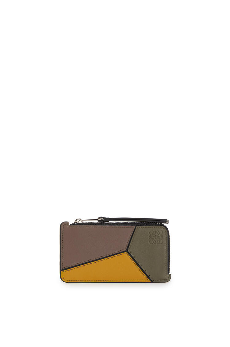 LOEWE Puzzle Coin Cardholder In Classic Calfskin Khaki Green/Ochre pdp_rd
