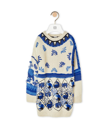 LOEWE Embroidered Sweater Animals 白色/藍色 front