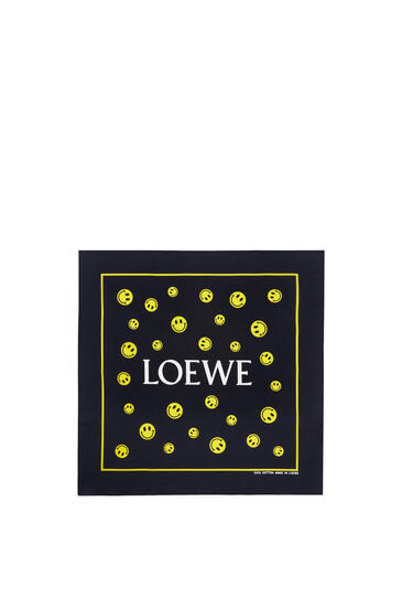 LOEWE 50 x 50 cm Smiley bandana in cotton Black/Yellow pdp_rd