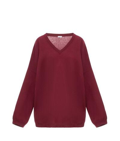 LOEWE Oversize V-Neck Sweater Burdeos front