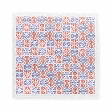 LOEWE 50X50 Bandana Anagram Azul Claro/Rojo front