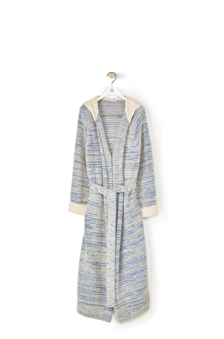 LOEWE Hooded knit robe coat in cotton Blue/Beige pdp_rd