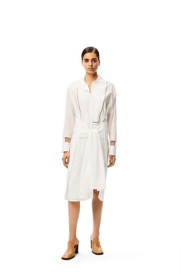 LOEWE Asymmetric jour echelle midi shirtdress in cotton White pdp_rd