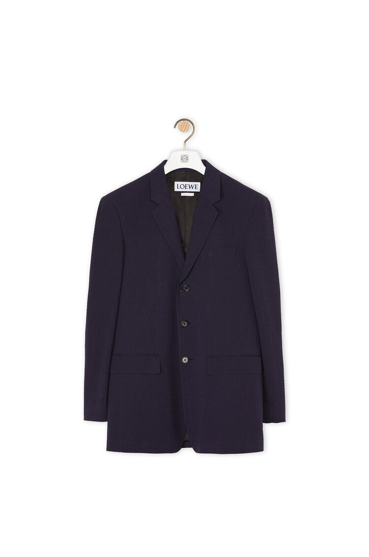 LOEWE Chaqueta en cashmere mil rayas con tres botones Marino pdp_rd