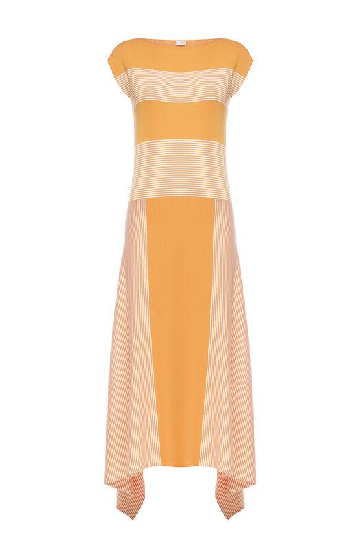 LOEWE ストライプニットドレス オレンジ/ホワイト front